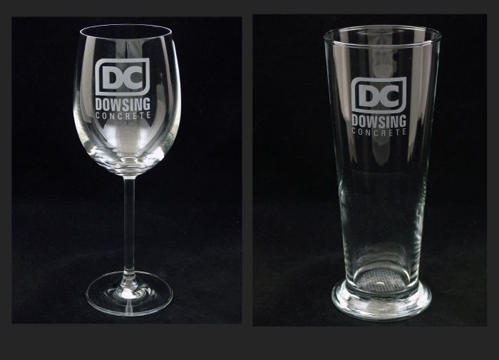 Red Wine and Beer glasses commissioned by Dowsing Concrete