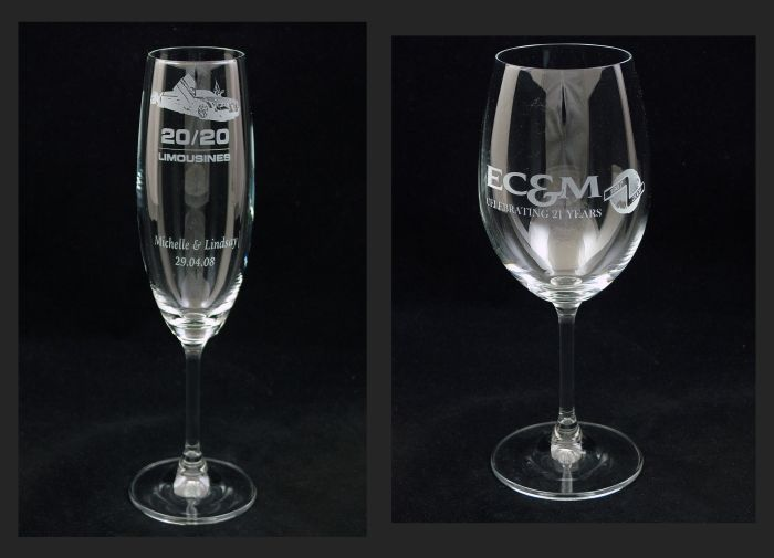 Champgane Glass commissioned by 20/20 Limousines. Red Wine glass commissioned by EC&M celebrating 21 years in business