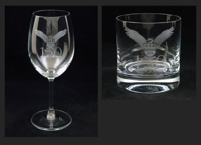 Red Wine and Whisky glasses commissioned by Hale School for their 150th anniversary celebrations