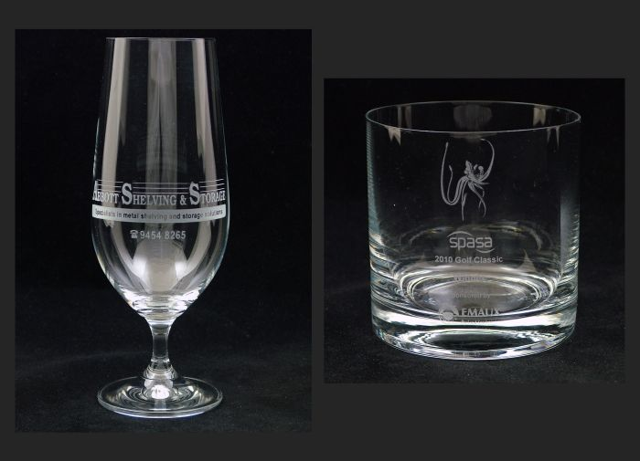 Beer Glass and Whisky glass. Commisioned for corporate events.