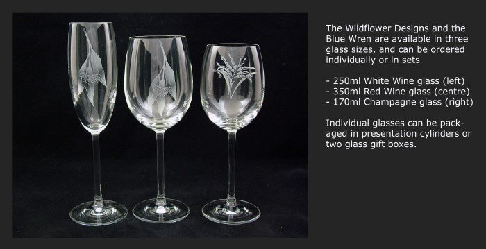 The wildfower collection is available on Red wine, white wine and champagne glasses.