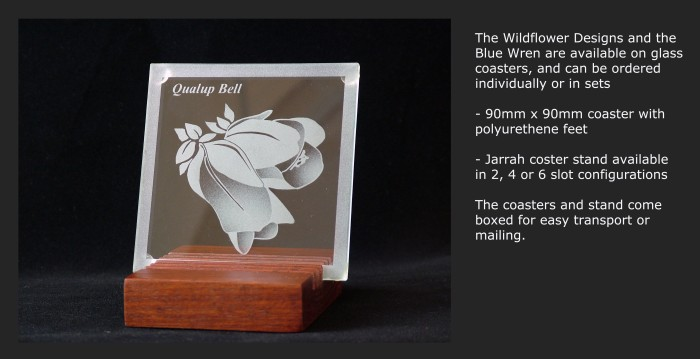 90mm x 90mm Glass coaster, Qualup Bell design on six slot Jarrah stand