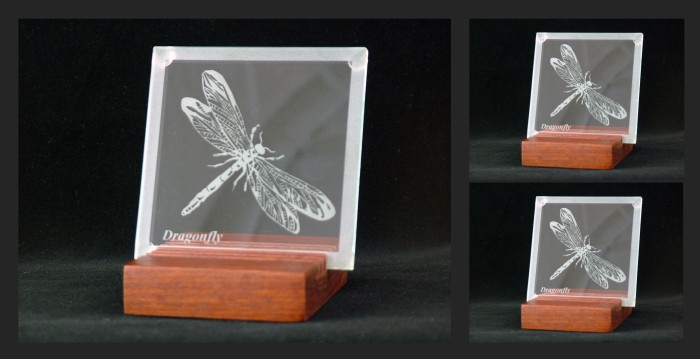 90mm x 90mm Glass coaster, Dragon Fly design on six slot Jarrah stand