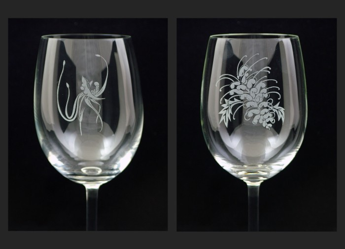 Spider Orchid and Grevillia designs - red wine glass