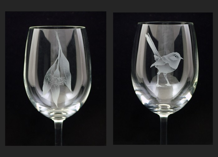 Flowering Gum and Blue Wren designs - red wine glass