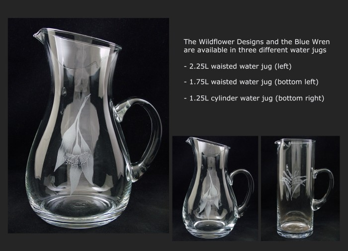 The wildflower collection is available on waisted and cylindrical water jugs.