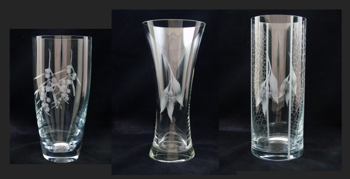Vases are available in three styles. L-to-R, 25cm(H) bullet vase, 29cm(H) waisted vase, 30cm(H) cylinder vase